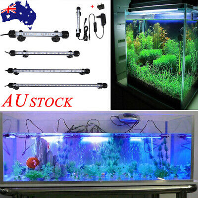 Aquarium Fish Tank LED Light Bar Lamp Pool Submersible Waterproof SMD White+Blue
