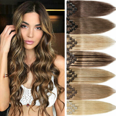 8PCS Clip In Remy 100% Human Hair Extensions Full Head Au Stock Extra Long ido4