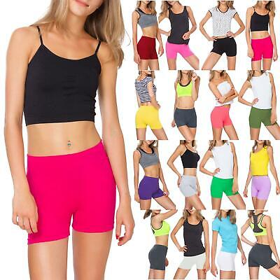 New Womens Ribbed Stretchy Activewear Dance Club Hot Pant Gym Summer Mini Shorts