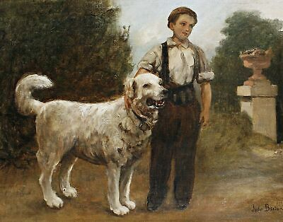 A boy and his dog by French Jules Breton. Canvas Pets Art. 11x14 Print