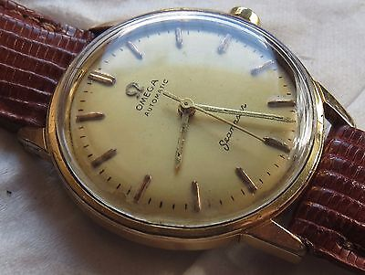 Omega Seamaster Automatic mens wristwatch gold filled case screw cap