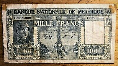 BELGIUM 1000 FRANCS of WWII (1945) PICK # 128b with GREAT SERIES # 1008.C.080