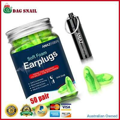AMAZKER Ear Plugs Bell-Shaped Ultra Soft Earplugs 50 Pairs Green with Carry Case