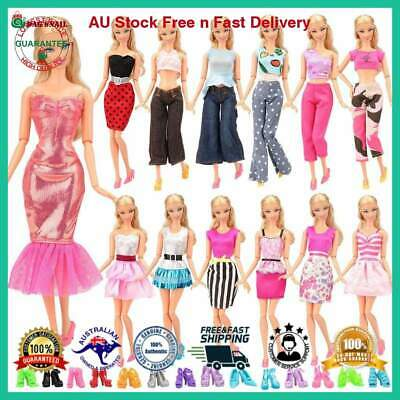Barbie Doll Dress Sets Fashion Outfit Casual Wear 5 Clothes 10 Pair Shoes 15 Ite