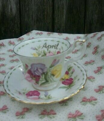 Royal Albert ' Flower Of The Month  ' Tea Cup & Saucer - April- Sweet Pea