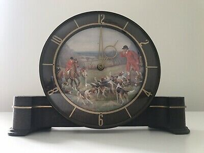 """Smiths Sectric """"Huntsman"""" Electric Clock Made In England Hunting Scene"""