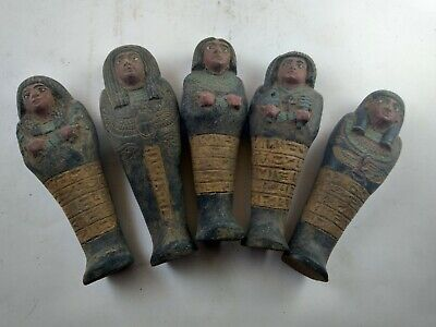 RARE ANTIQUE ANCIENT EGYPTIAN 5 Ushabti Work as Sevant Minions 1630 Bc