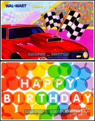 2x WALMART FLAG & RACING CAR HAPPY BIRTHDAY ALPHABETS COLLECTIBLE GIFT CARD LOT