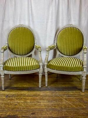 Pair of large Louis XVI armchairs