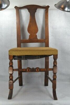 side chair 18th 19th c queen anne fiddle back hand made carved 1790-1820