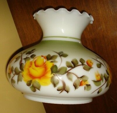 """VTG 7"""" Fitter GWTW Hurricane LAMP SHADE Milk Glass Painted Yellow Roses Floral"""