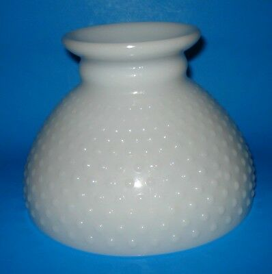 """Vintage 8"""" Fitter Hobnail Milk Glass GWTW Oil Electric Hurricane LAMP SHADE Nice"""