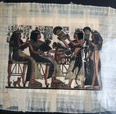 Pair Of 2 Framed Egyptian Print Papyrus Nile