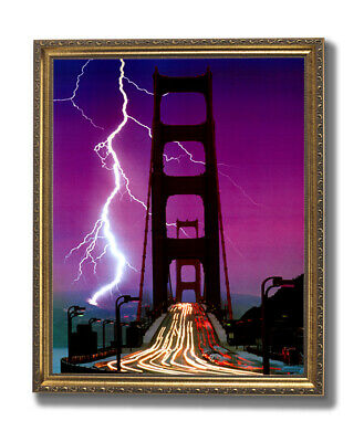 Golden Gate Bridge Lightning Storm Landscape Wall Picture Gold Framed Art Print