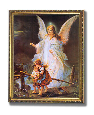 art print~GUARDIAN ANGEL sick~Foil~Victorian vtg repro 9x12 with child in bed