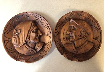"Carved German/European Old Man & Old Woman Vintage Round Wall Plaques 7"" Cameo's"