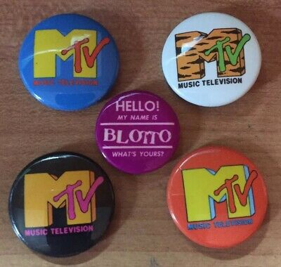 4 diff MTV Music Television Pinbacks - Vintage Pin Buttons & BLOTTO -1st day MTV