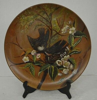 Antique Coulter and Long Pottery Plate with Hand Painted Birds