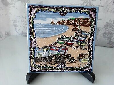 Vintage Hand Painted Azupal Pombal Ceramic Tile Portugal
