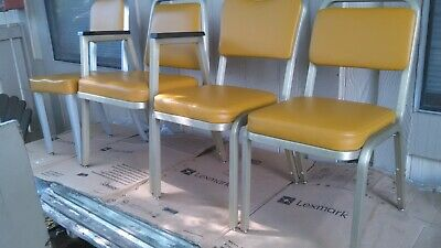 Mid Century Industrial Modern Good Form Chairs Yellow Naugahyde Brushed Aluminum