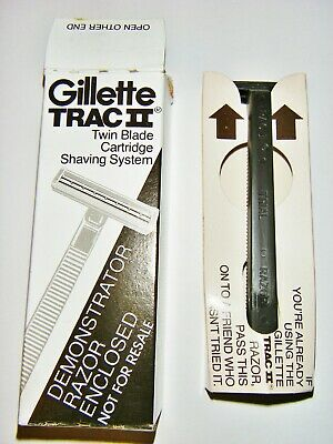 Vintage 80's Gillette TRAC II 2 Twin Blade Trial Shaving Razor-New in Box/Sealed