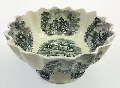 """W T Copeland and Sons 9"""" Footed Serving Bowl Pastoral Scene Toile Pattern"""
