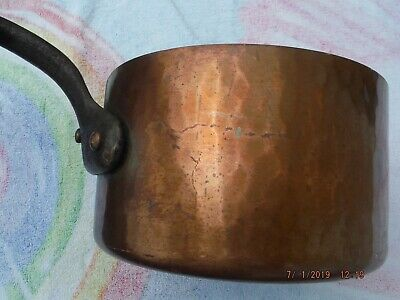 Vintage Dean & Deluca NY Hand Hammered Copper Pot Cast Iron Handle Made in Franc
