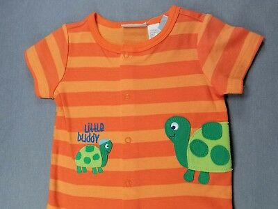 New!! First Impressions 6-9 Month Baby Boy Orange Striped Turtle Romper Outfit