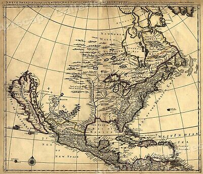 A New Map Of North America 1760s Vintage Style Early Us Map 20x24 - Early-us-maps