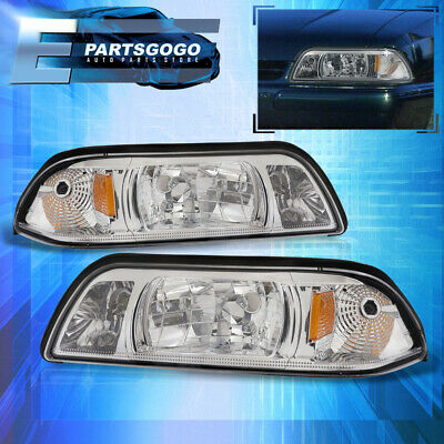 87-93 Ford Mustang Gt Crystal Chrome Headlights Lamp + Corner Turn Signal Amber