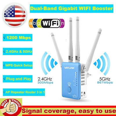 AC1200Mbps WiFi Repeater Wireless Extender Dual Band Gigabit Booster Router RJ45