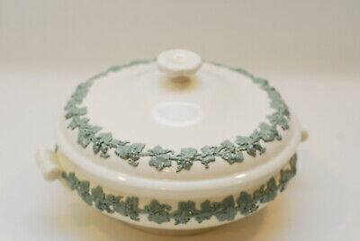 Wedgwood Queensware Embossed Celadon On Cream Round Covered Vegetable Bowl
