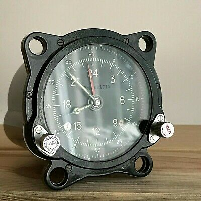 Vintage Military Helicopter Cabin Clock 55M Aircraft USSR Perfect 24 Hours