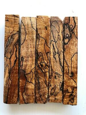 Exhibition grade Stabilized SPALTED MAPLE Pen Blanks, Black Line, Lot of 5- WOW!
