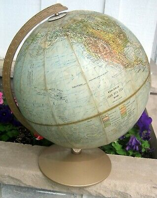 Vintage Detailed Replogle Land and Sea Desk Top World Globe Raised Topography