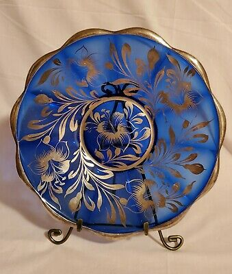 "Vintage Cobalt Blue Glass Silver Overlay Plate – 12"" – Beautiful!"