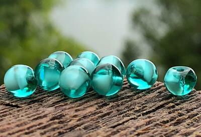 Vintage Glass Beads ~ Teal Green Givre Glass Spacer Beads Jewelry Making 6mm NOS