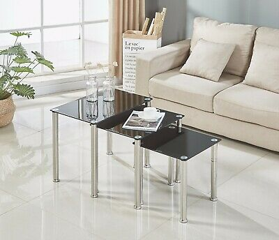 8394af0ca5ed6a Nest of 3 Coffee Tables Square Black Glass Metal Legs Side End Lamp Sofa  Unit