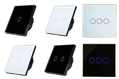 Lux Digital Glass Switch Touch Panel LED Control Wall Light Lamp White or Black