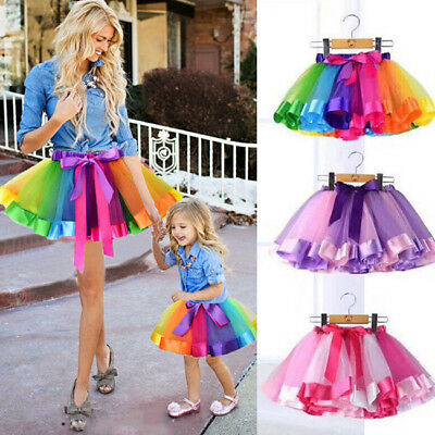 Rainbow Mother Daughter Matching Skirt Clothes Women Kid Girl Tulle Dress US