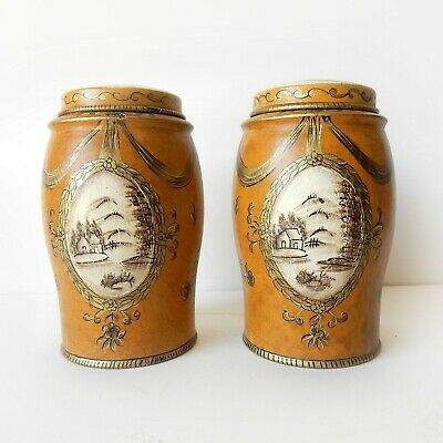 Pair Chinese Toleware Tea Caddy Canister Tin Hand Painted Yellow Gold Metal