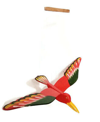 Mobile Green Bird Wood Carved Hand Painting Wooden Hanging Horn Bill Porch Decor
