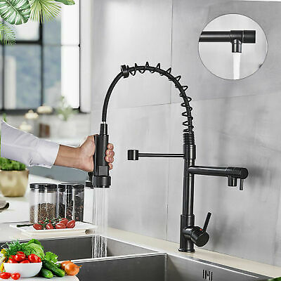 Kitchen Sink Faucet Oil Rubbed Bronze Pull Down Sprayer With 10 inch Deck Plate