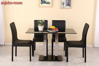 011267eda5f4 Dining Table 4 Chairs Set Gloss Chrome Glass 4-6 Seater Table Faux Leather  Chair