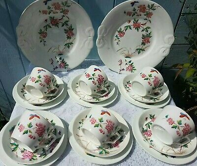 Antique Tea Set china Cups Saucers With Butterfly, Dragonfly, Bows Afternoon Tea