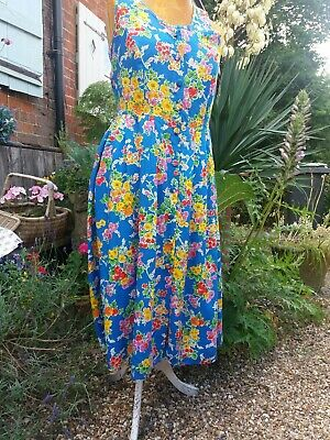 GORGEOUS ST MICHAEL VINTAGE RETRO FLORAL COTTON SUNDRESS  size 14 eur42