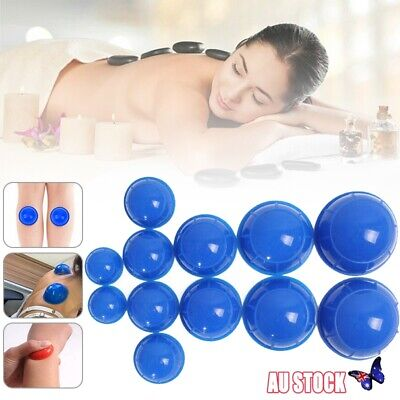 12X Chinese Rubber Vacuum Cupping Set Kit Massage Acupuncture Suction Massager