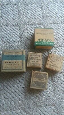 5 ANTIQUE QUACK MEDICINE BOXES, STILL FULL, herbs,homeopathic remedy,cure