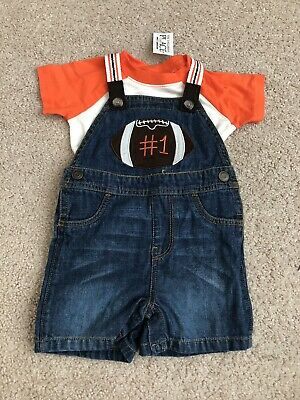 NWT childrens Place Infant Boys 9-12M Football Overall Set