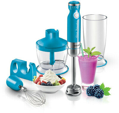 SENCOR 10-Speed Immersion Blender with Whisk and Chopper Attachments, Turquoise